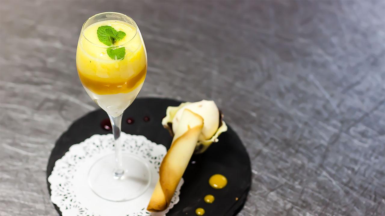 Riz au lait et gelée de mangue