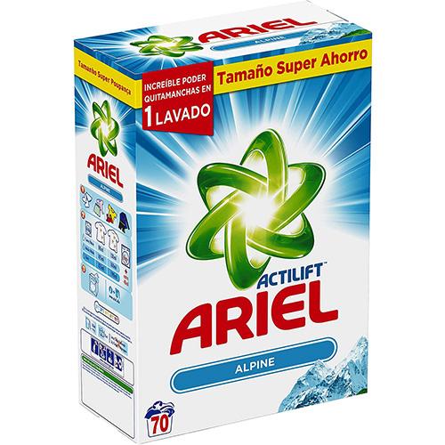 ARIEL – ALPINE Lessive en Poudre baril de 4,5 KG 70 Lavages
