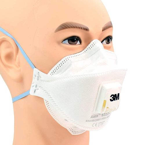 Lot de 10 Masques antipoussière FFP2 3M AURA 9322+ avec soupape